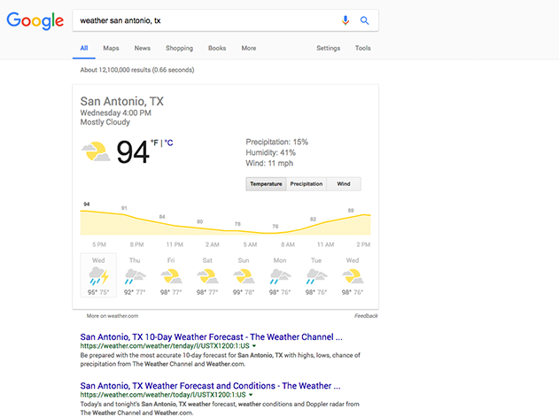 Google Weather featured snippet