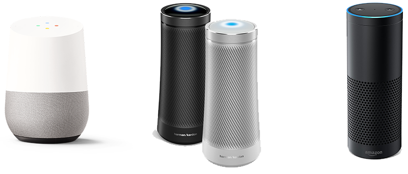 Google home, Microsoft Cortana, Amazon Echo personal voice assistants