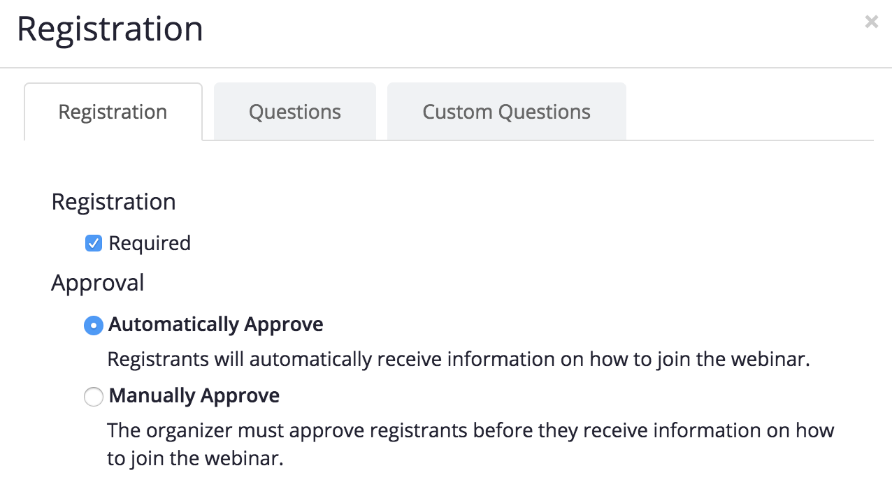 zoom automatically approve registration