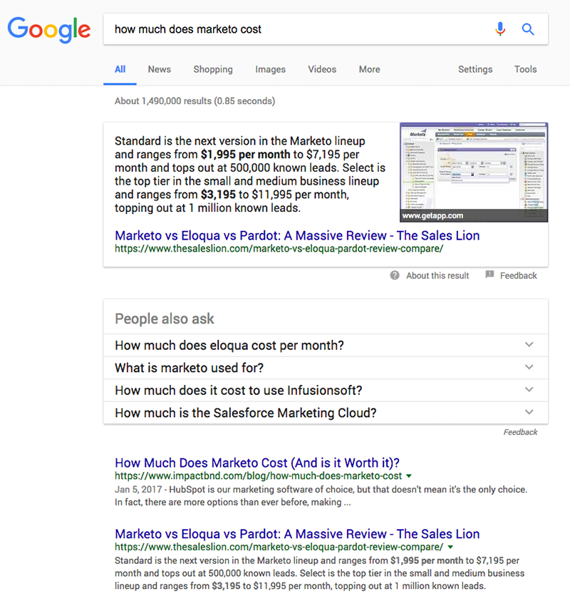 google search result for marketo